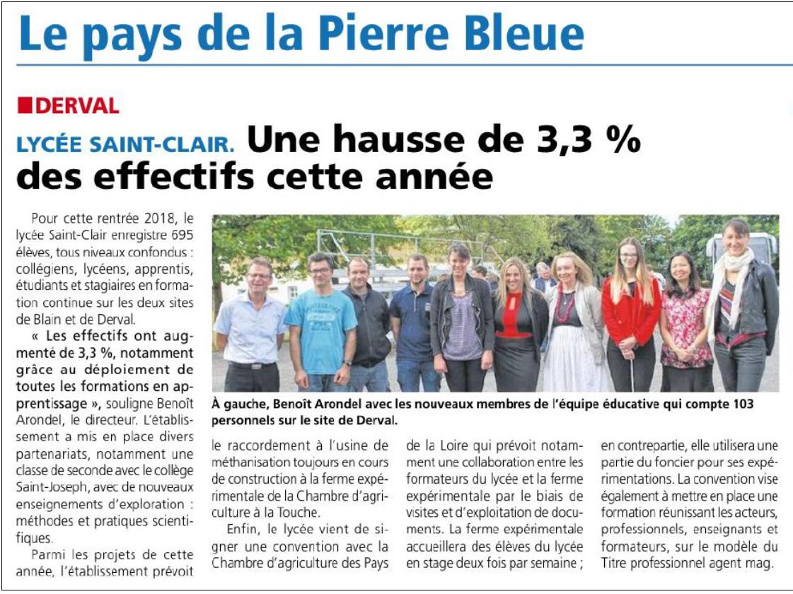 Lycée Saint-Clair à Blain Derval : une hausse d'effectif grâce aux formations en apprentissage.
