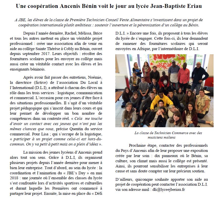 Une coopération Ancenis Benin voit le jour au lycée Jean-Baptiste Eriau