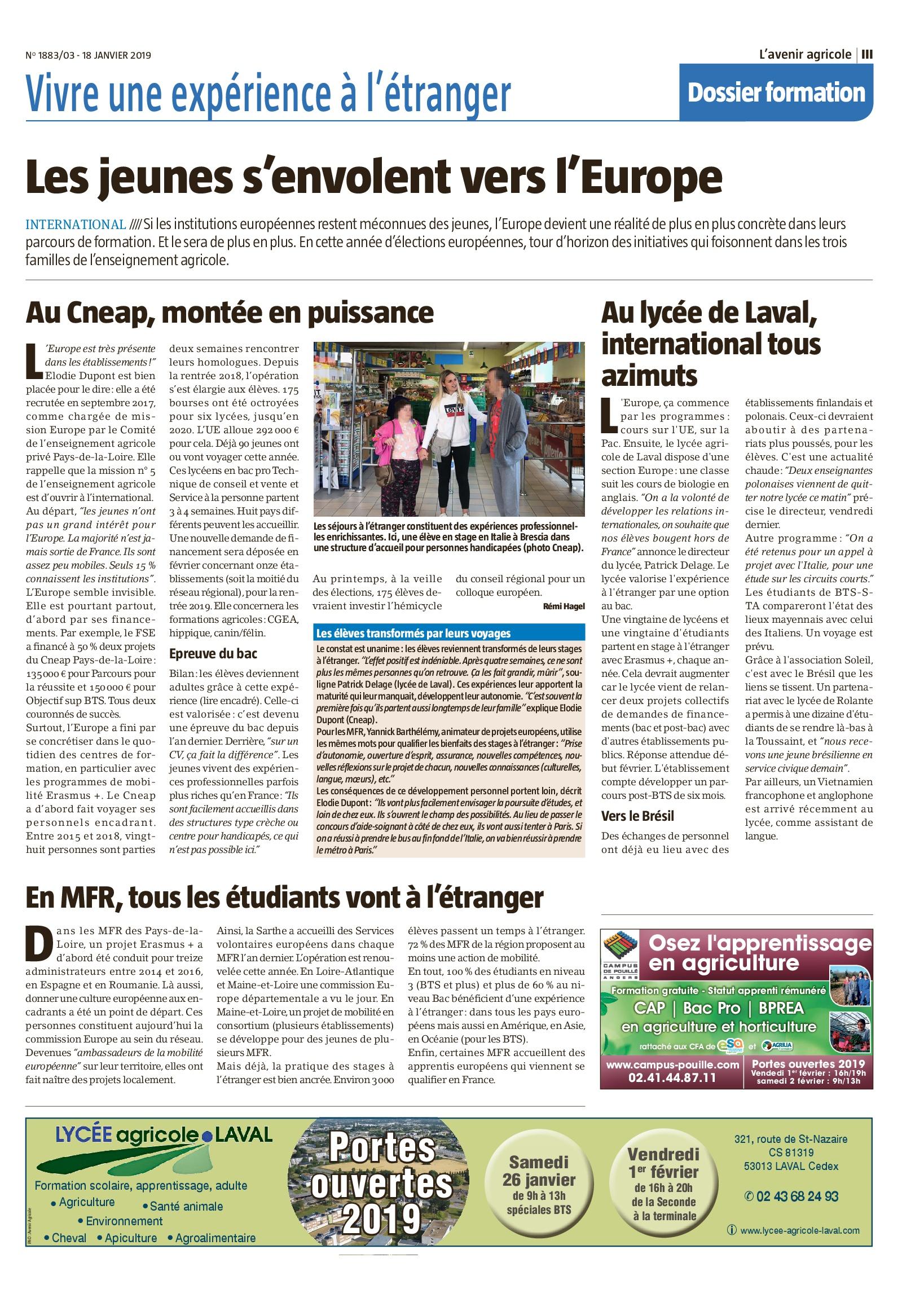 """""""les jeunes s'envolent vers l'Europe"""" par l'Avenir Agricole"""