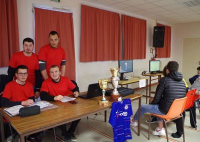 Les étudiants organisateurs du tournoi FIFA, de haut en bas et de gauche à droite, Samy, Benjamin, Yoann et Alexis.